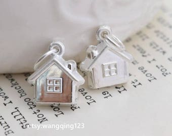 2 pcs sterling silver house charm pendant  QH