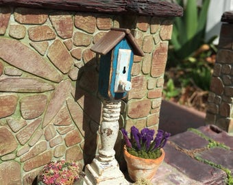 Dollhouse Miniature Birdhouse in Blue