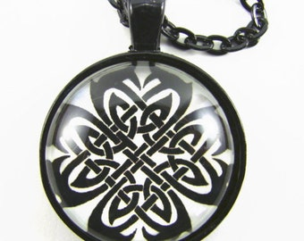 CELTIC ENDLESS KNOT Necklace -- Celtic cross celebrating Earth Air Fire & Water unified in harmony,   Spiritual art,   Celtic 5th element