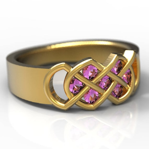 Celtic Pink Sapphire Ring With Infinity Knot Design in 10K Gold, Made in Your Size CR-771