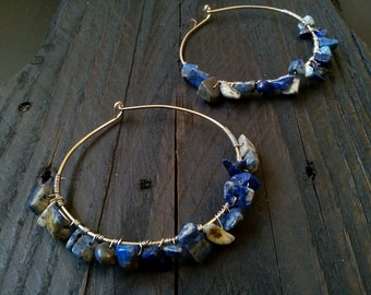 Silver hoops with Lapis Lazuli stones, wire earrings,  x large hoop earrings, gemstone earrings, modern hoop earrings, sterling silver hoops