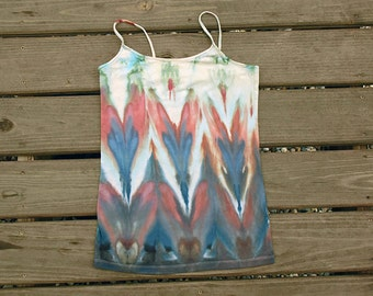 Blue Red Tie Dye Shirt - Tank Top - Cami Camisole -  Tie Dye Blouse - Size L Juniors
