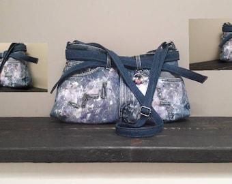 Denim Bag Upcycled Blue Jean Purse Adjustable Shoulder Strap Painted Handbag Denim Purse Recycled Denim Bag Abstract Bag Unique gift