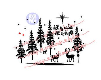 All is Calm All is Bright Christmas digital cut file for htv-vinyl-decal-diy-plotter-vinyl cutter-craft cutter-.SVG -.DXF  & JPEG format