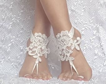 ivory Beach wedding lace barefoot sandals wedding shoes bridal gift bridesmaid gift bridal accessories barefeet ankle bangle prom party