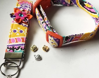 Summer Floral Collar with Matching Flower Key Fob and Charm for Girl Dog or Cat