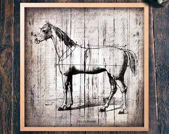 Farmhouse Style Horse Wall Art, Large Square Printable Sign, Living Room or Bedroom Art, Instant Download Home Decor (#9135b)