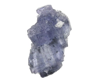 Fluorite Violet Blue floater crystal with Calcite, Translucent, Zoned with inclusions Specimen, mined in Mexico in 1980s