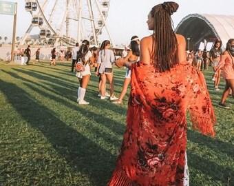 Kimono Robe For Honeymoon - Boho Velvet Kimono - Bohemian Festival Kimono - Floral Silk Kimono Robe - Fringe Kimono Duster - Silk Kimono