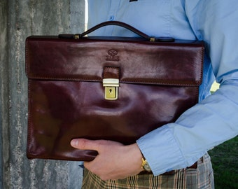 Leather briefcase, Graduation Gift, Mens Leather briefcase, Brown leather bag, Laptop bag, Leather messenger bag - Moonheart