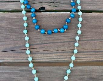 Ombre Tassel Beaded Multi-Way Lariat Necklace