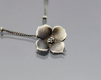 Small Sterling Silver Dogwood Flower Blossom Necklace