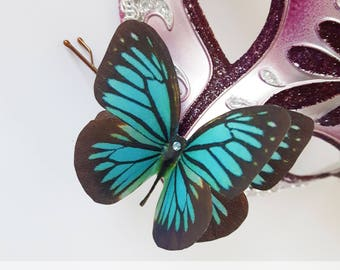 Butterfly Hair Clip Teal Butterfly Hair Slide Hair Accessory Wedding Bobby Pin Hair Pin Silk Butterfly