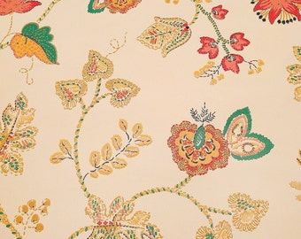 Vintage Wallpaper French Country Vines, Leaves, Berries, Flowers Yellow