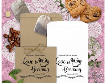 Personalized Coffee Tea Favor Bags - Love is Brewing - Engagement Bridal Shower Wedding Anniversary Favors - Coffee and Tea Favors - CATa2