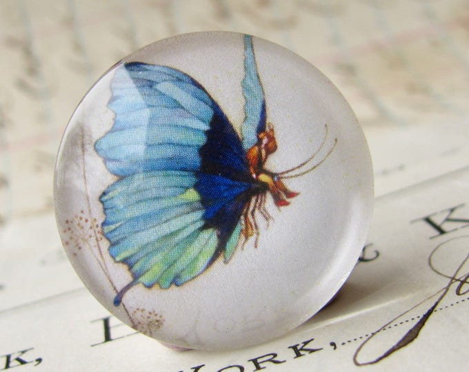 Fairy riding a butterfly, handmade 25mm round glass cabochon, fantasy stories, bottle cap, 1 inch, from our Winged Wonders collection