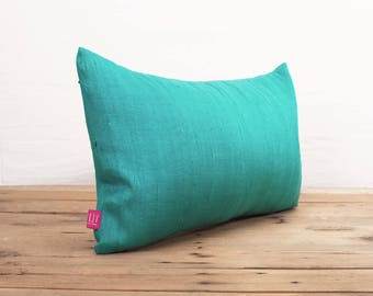 "Silk pillow, turquoise color,  lumbar pillowcover, size 12""X20"", other sizes available"