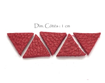 Genuine Leather Triangles - Equilateral Triangle - Sides: 10 mm - Goat Leather - Lot Color Red Dark (6 pcs)