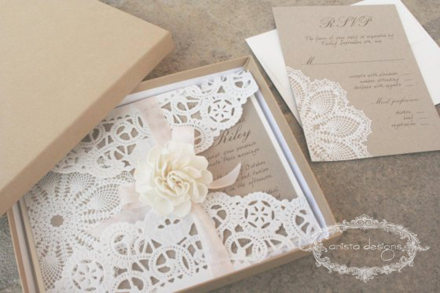 SALE: vintage wedding invitation Lace doily featured in