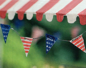 Fairy Garden 4th of July Pennant Flags ~ Miniature American Flags for Fairies ~ Independence Day Garland Accessory ~ Miniature Gardening