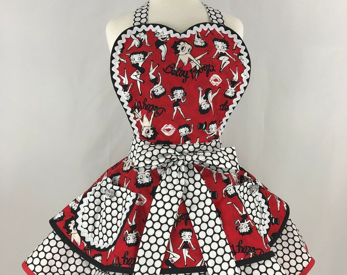 Retro Apron/Betty Boop Retro Apron/Rare Betty Boop Apron/Women's Apron/Betty Boop and Polka Dots Apron/Pinup Apron