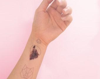Geometric Wolf Temporary Tattoos