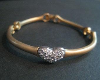 Vintage Swarovski Brass with Rhinestone Heart Bracelet