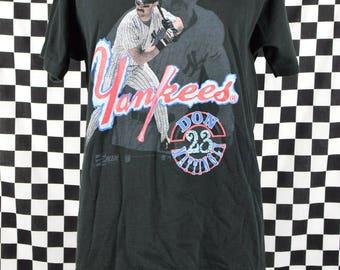 Vintage Don Mattingly Yankees t shirt / 80s New York Yankees tee shirt / NY / Baseball / Donnie Baseball / Salem Sportswear / XL