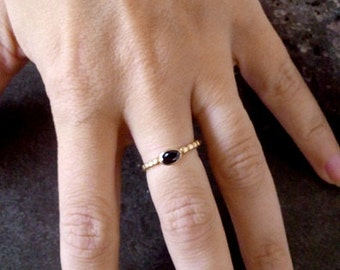 SALE! Slim Ring - Onyx Ring-Gold Tiny Ring - Gemstone Ring - Black Jewelry - Onyx Oval Ring - Slim Band - Simple Ring