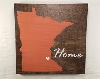"""Pick State, Pick colors, Custom, Wooden State Sign, Minnesota, 11.25""""x11.25"""""""