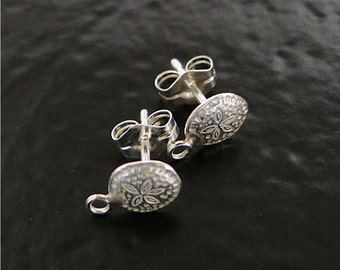 Sterling Silver Sand Dollar Post Earrings With Loop - 1 Pair of Stud Earrings, Made in USA, SC3