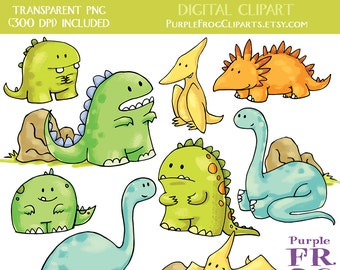 FRIENDLY DINOS - Digital Clipart, Clip art. 11 images, 300 dpi. jpeg, png files. Instant download.