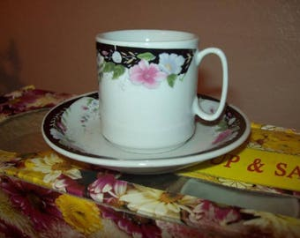 Set of 6 Demitasse Espresso Cups Black Trim Floral Design In Box Never Used