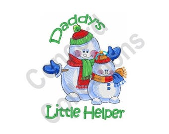 Daddy's Little Helper - Machine Embroidery Design, Snowman, Winter, Daddy