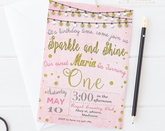 Sparkle and Shine Invitation / Printable Invite / DIY First Birthday Party