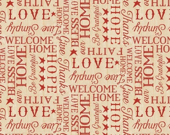 The Way Home Fabric Collection - Tan Words by Jennifer Pugh for Wilmington Prints - Listed by the half yard