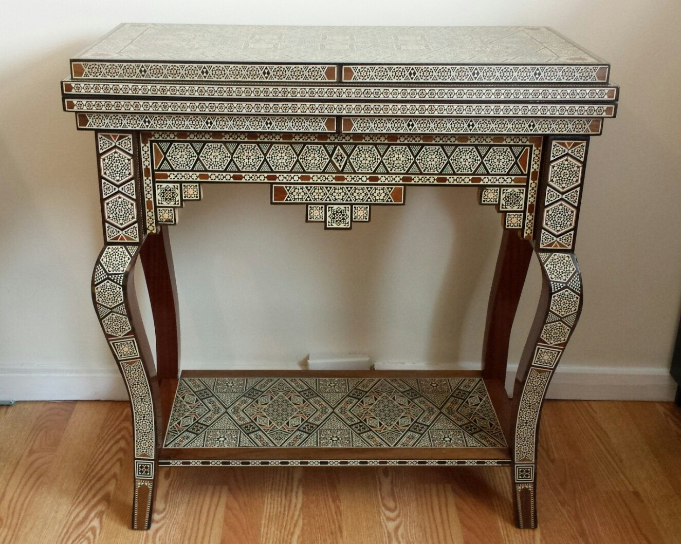 Side Table, Poker Table, Game Table, Card Table, Vintage Table, Mosaic Table,  Wooden Home Decor, Backgammon Table, Chess Set, Syrian Art.