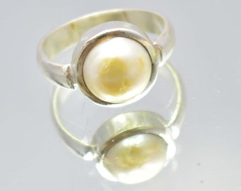 23.30Ct Certified US Size-6.5 Beautiful White Pearl Ring Gems 925 Sterling Silver AU5067