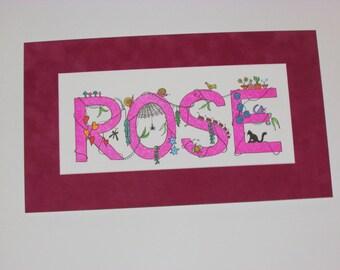 "Whimsical ""I Spy"" kid's names. Pink ""Rose;"" ""16.5x9.5"""