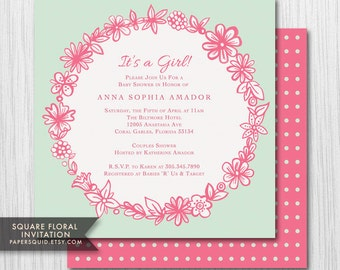 COLOR OPTIONS Garland Square Floral Invitation - Hand drawn- For Any Event - Digital Printable File - Item 147