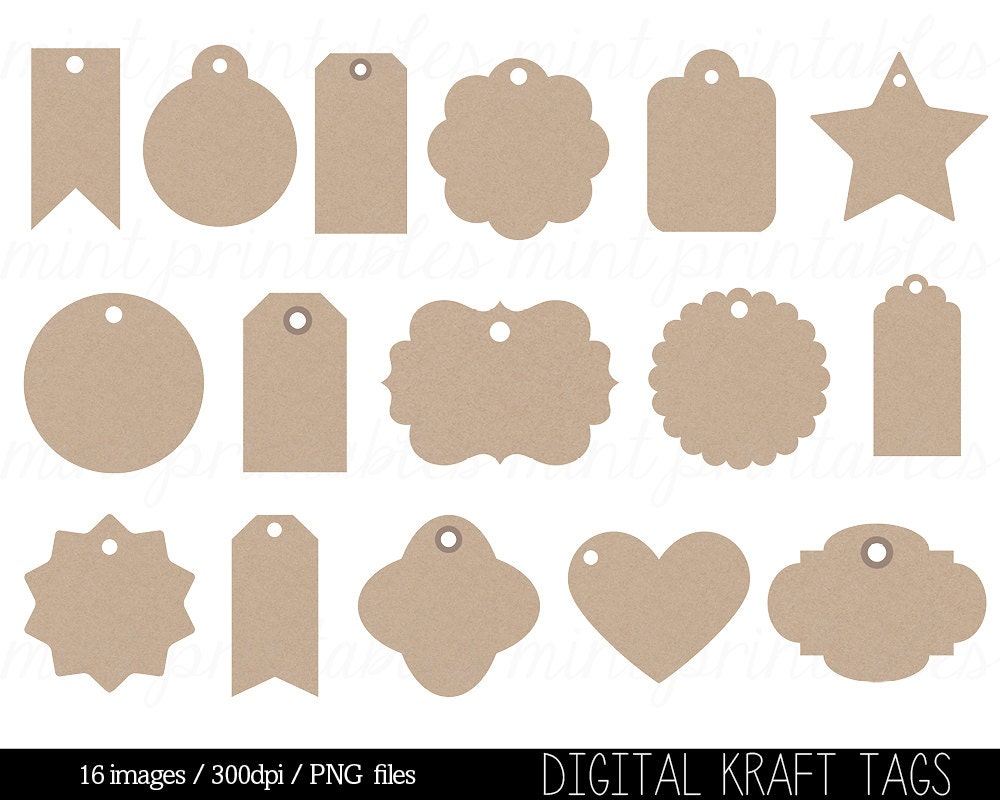 Kraft paper tags digital clipart label clip art swing tag zoom jeuxipadfo Choice Image