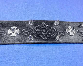 Leather Spiked Winged Skulls Belt