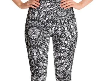 Leggings High Waist Black Yoga Pants, Women's Printed Leggings, Black and White Mandala Leggings