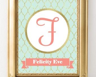 Personalized Nursery Print, Baby Girl Nursery Wall Decor, Custom Name Print, Nursery Wall Art, Girl Wall Art, Mint Coral Nursery Monogram