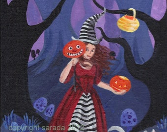 Gothic Halloween witch art print striped Alice in the Dark Woods pumpkin JOL white cat 5 x 7 reproduction spooky cute forest woods