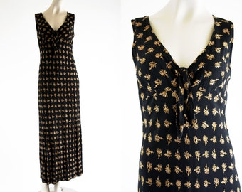 The Limited 90's Vintage Black and Gold Floral Print Tie Front Bias Cut Woman's Retro Maxi Dress