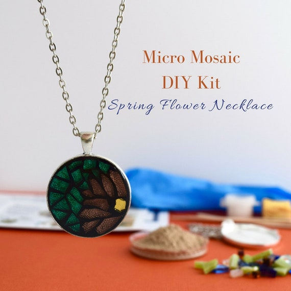 Flower mosaic necklace diy kit spring flower jewelry gift for flower mosaic necklace diy kit spring flower jewelry gift for granddaughter micro mosaic summer jewelry making craft kit from craftykits4u on etsy aloadofball Image collections