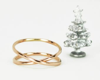 14K Rose Gold Infinity Ring, Eternity Band, Gift For Her