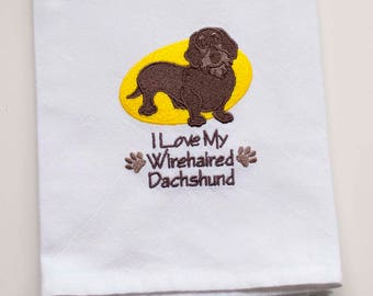 Wirehaired Dachshund Tea Towel   Personalized Kitchen   Embroidered Kitchen Towel   Kitchen Towel   Embroidered Towel   Personalized Gift