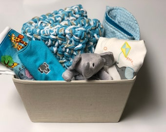 Unique baby gifts made with love by scsewingcreations on etsy baby boy elephant gift basket blue and gray elephant baby boy gift corporate negle Images